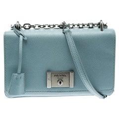 Prada Blue Leather Shoulder Bag