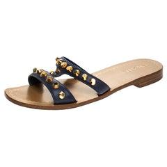 Prada Blue Leather Studded Flat Slides Size 38
