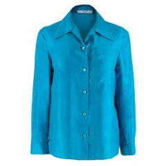 Prada Blue Lightweight Satin Blouse XS