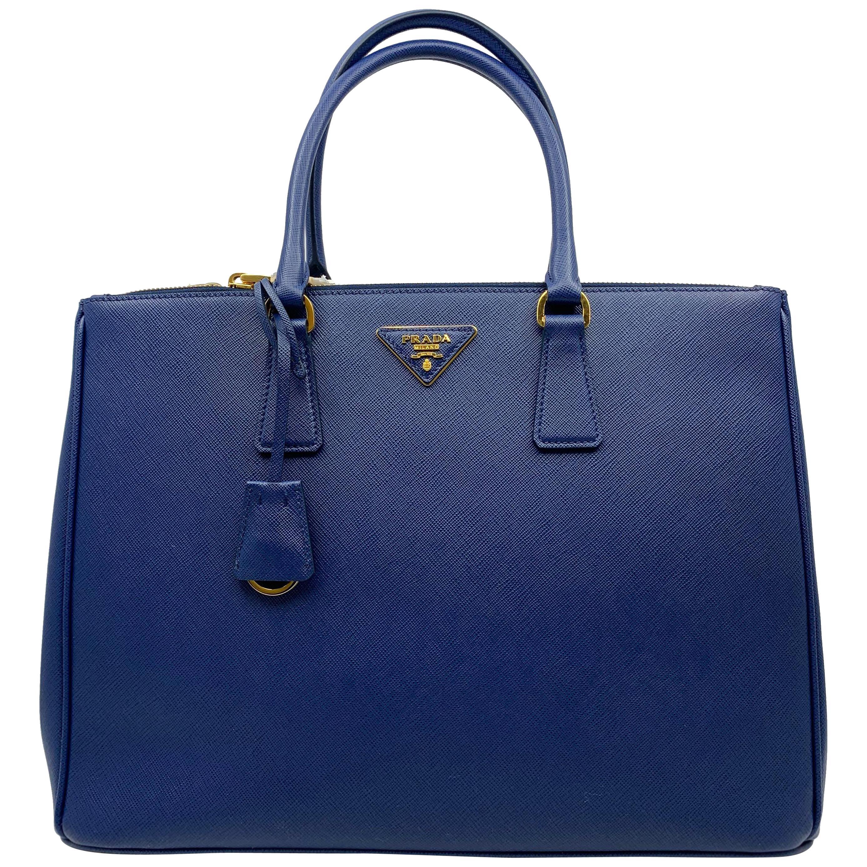 Prada Blue Lux Saffiano Leather Double-Zip Tote Ladies Bag 1BA786 F0016