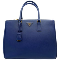 Prada Blue Lux Saffiano Leather Double-Zip Tote Ladies Bag 1BA786 F0016