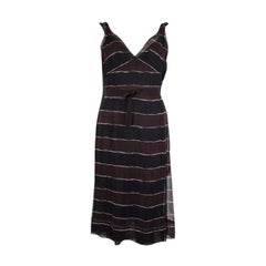 PRADA blue & maroon silk STRIPED CHIFFON BELTED Dress 42