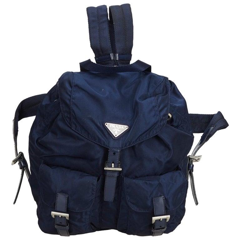 ee26bba2273b35 Prada Blue Nylon Backpack at 1stdibs