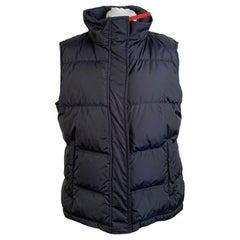Prada Blue Nylon Sleeveless Down Jacket Vest with Hood Size 46