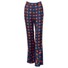 Prada Blue Orange Red Check Silk Fairy Pants Runway, 2008