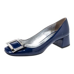 Prada Blue Patent Leather Crystal Buckle Block Heel Pumps Size 37