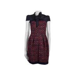 PRADA blue & red wool TWEED PUSSY BOW Dress 38