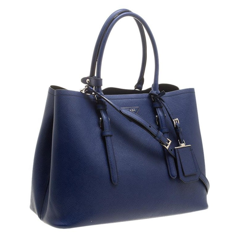 31dcaaee75 Prada Blue Saffiano Cuir Leather Convertible Tote For Sale at 1stdibs