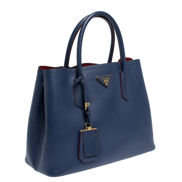 Women's Prada Blue Saffiano Cuir Leather Double Handle Tote For Sale