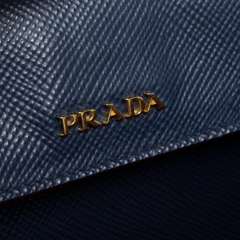 Prada Blue Saffiano Cuir Leather Double Handle Tote For Sale 2
