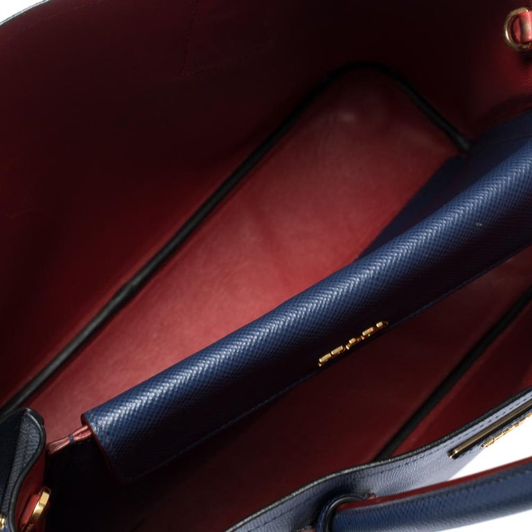 Prada Blue Saffiano Cuir Leather Double Handle Tote For Sale 5
