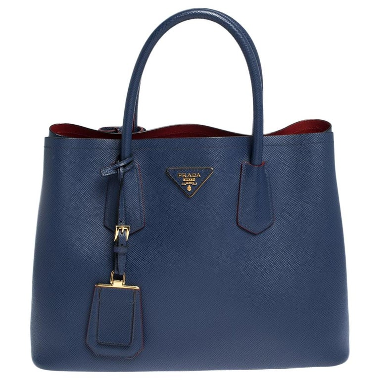 Prada Blue Saffiano Cuir Leather Double Handle Tote For Sale