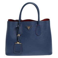 Prada Blue Saffiano Cuir Leather Double Handle Tote