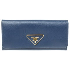 Prada Blue Saffiano Leather Continental Wallet