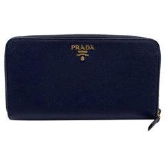 Prada Blue Saffiano Leather Continental Zippy Wallet Coin Purse