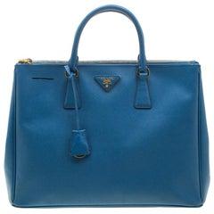 Prada Blue Saffiano Leather Large Double Zip Tote