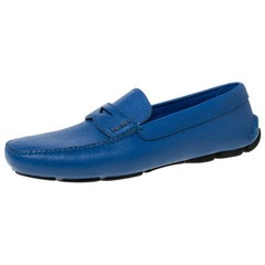 Prada Blue Saffiano Leather Penny Loafers Size 44.5