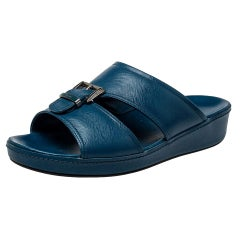 Prada Blue Saffiano Leather Slide Sandals Size 41.5