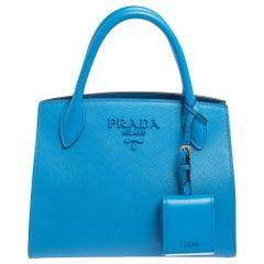 Prada Blue Saffiano Leather Small Monocrome Tote