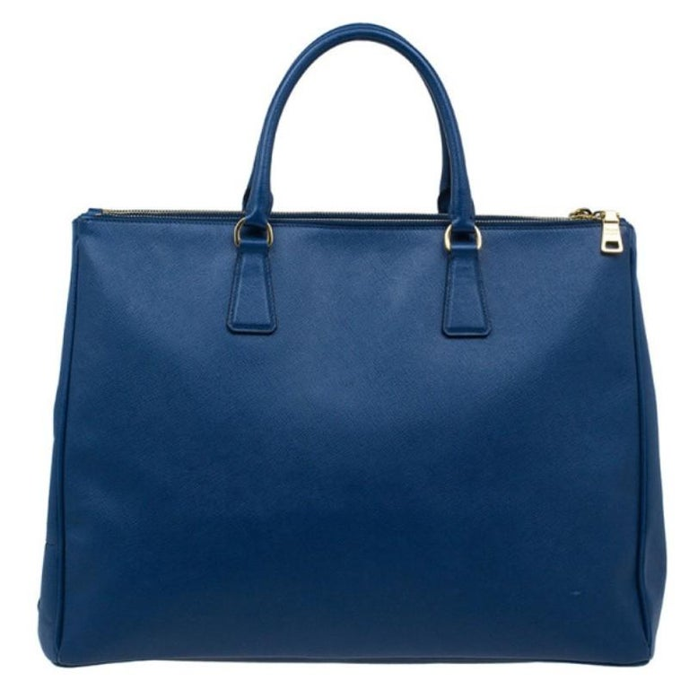 ad52c321195836 Prada Blue Saffiano Lux Large Double-Zip Tote For Sale. From the galleria  capsule collection, this Prada bag was named after the first store,