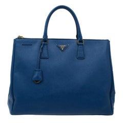 Prada Blue Saffiano Lux Large Double-Zip Tote