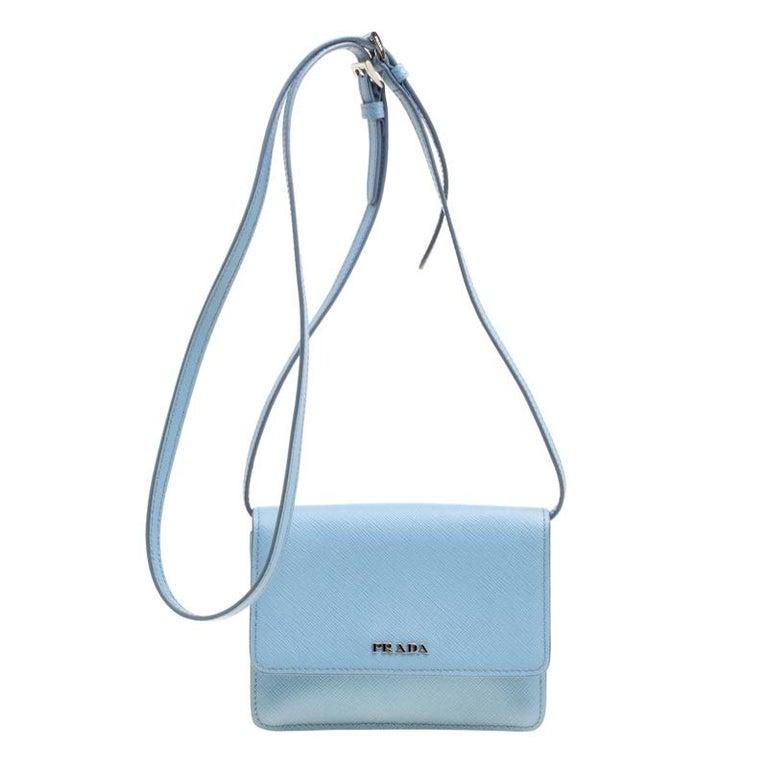 9c9e2a9af4e40e Prada Blue Saffiano Lux Leather Crossbody Bag For Sale at 1stdibs
