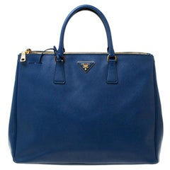 Prada Blue Saffiano Lux Leather Double Zip Executive Tote