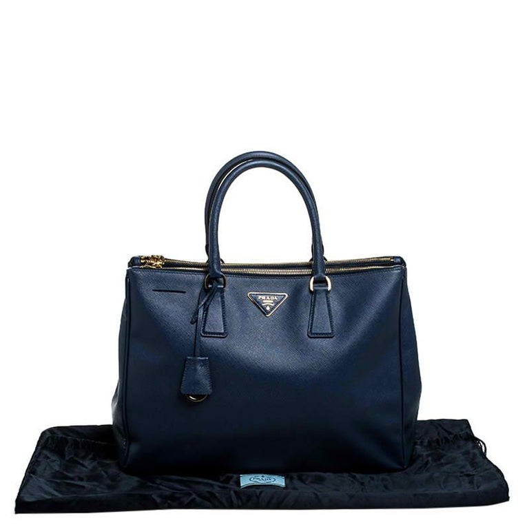 Prada Blue Saffiano Lux Leather Large Double Zip Tote For Sale 7