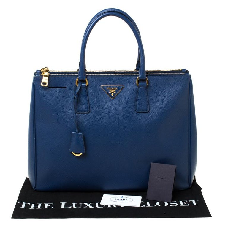 Prada Blue Saffiano Lux Leather Large Double Zip Tote 8