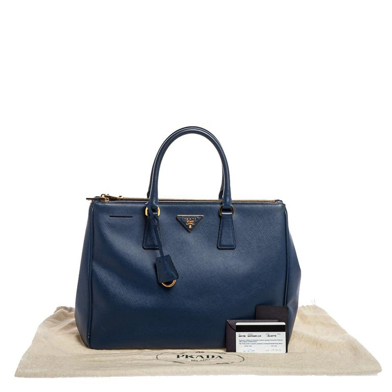 Prada Blue Saffiano Lux Leather Large Double Zip Tote For Sale 11