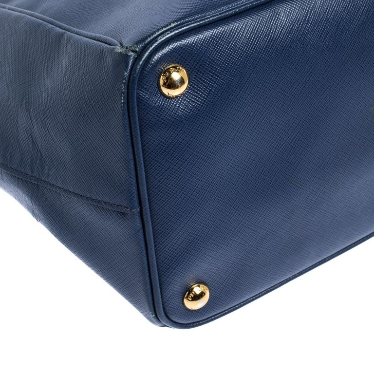 Prada Blue Saffiano Lux Leather Large Double Zip Tote For Sale 1