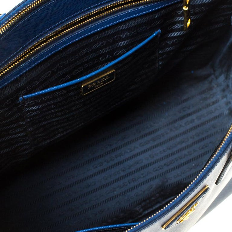 Prada Blue Saffiano Lux Leather Large Double Zip Tote 2
