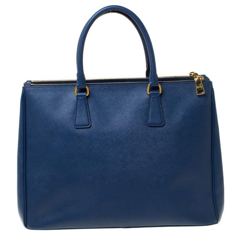 Prada Blue Saffiano Lux Leather Large Double Zip Tote 3