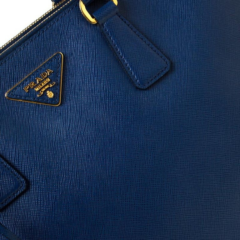 Prada Blue Saffiano Lux Leather Large Double Zip Tote 4