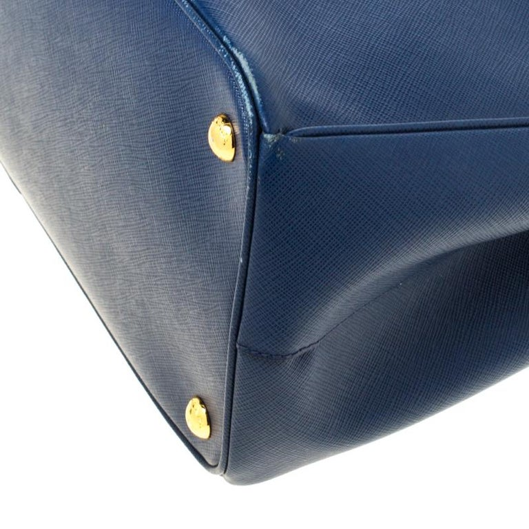 Prada Blue Saffiano Lux Leather Large Double Zip Tote 5