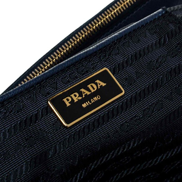 Prada Blue Saffiano Lux Leather Large Double Zip Tote For Sale 5