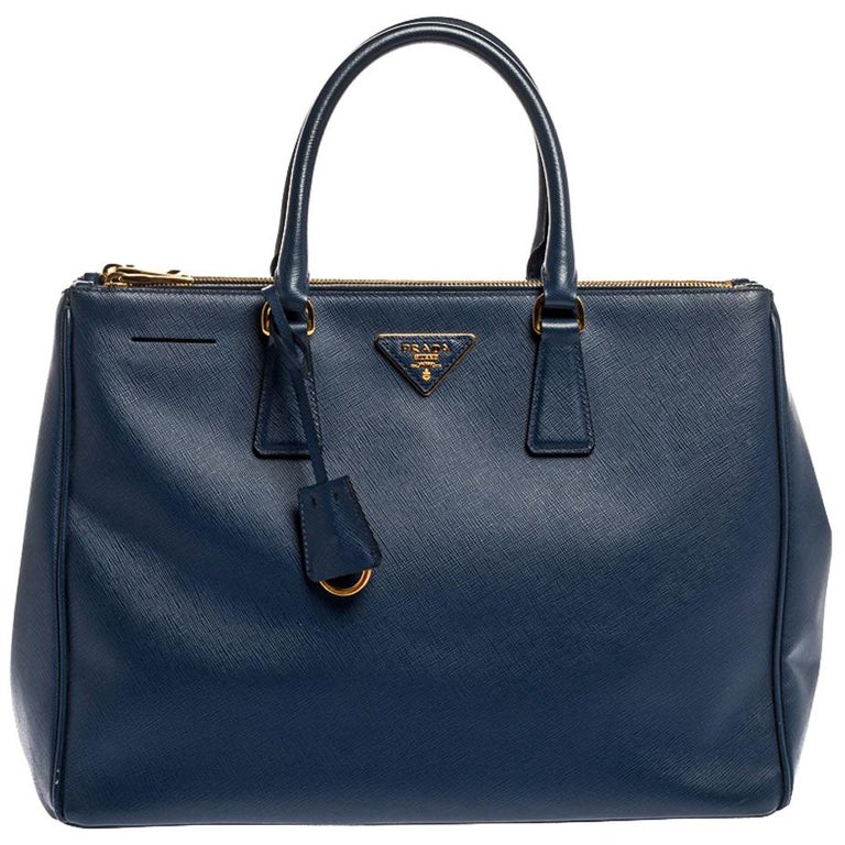 Prada Blue Saffiano Lux Leather Large Double Zip Tote For Sale
