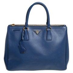 Prada Blue Saffiano Lux Leather Large Galleria Tote