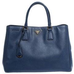 Prada Blue Saffiano Lux Leather Large Gardener's Tote