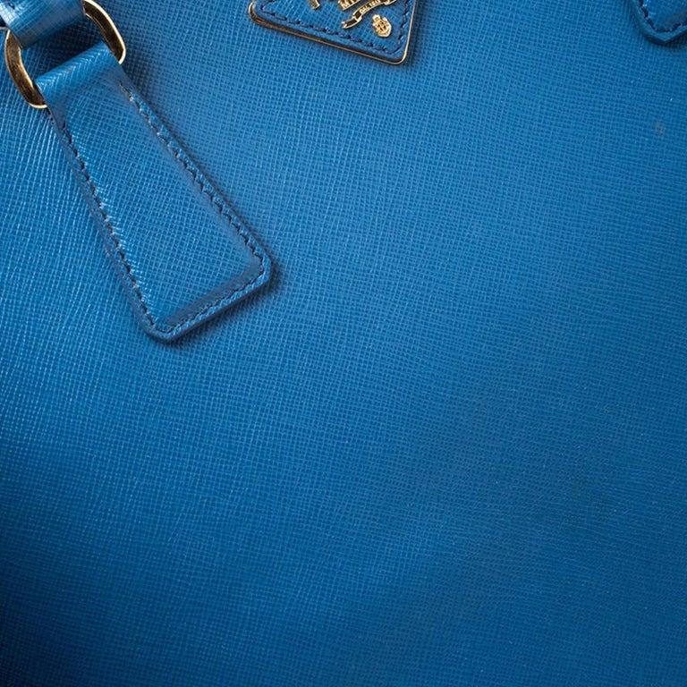 Prada Blue Saffiano Lux Leather Large Promenade Bag For Sale 6