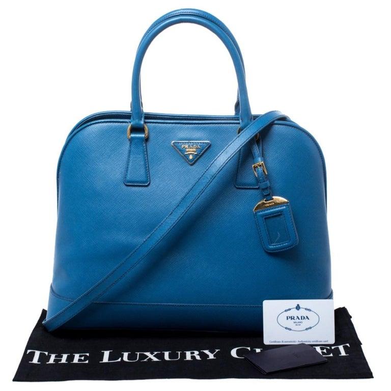 Prada Blue Saffiano Lux Leather Large Promenade Bag For Sale 7