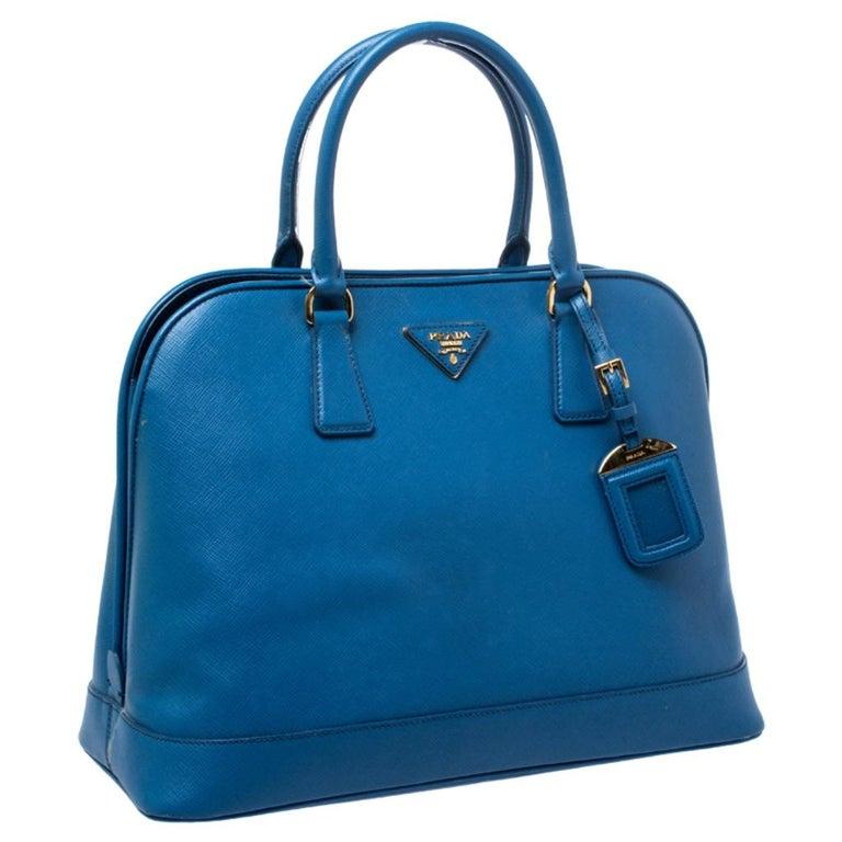 Women's Prada Blue Saffiano Lux Leather Large Promenade Bag For Sale