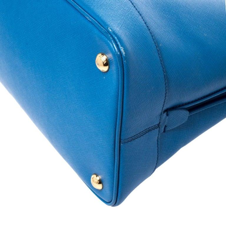 Prada Blue Saffiano Lux Leather Large Promenade Bag For Sale 3
