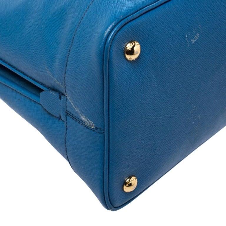Prada Blue Saffiano Lux Leather Large Promenade Bag For Sale 4