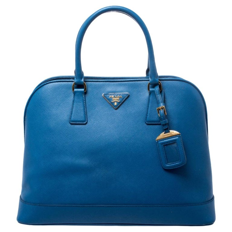 Prada Blue Saffiano Lux Leather Large Promenade Bag For Sale