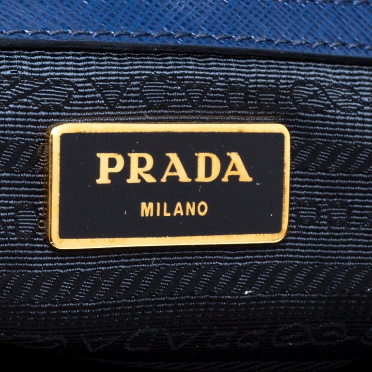Prada Blue Saffiano Lux Leather Large Tote For Sale 6