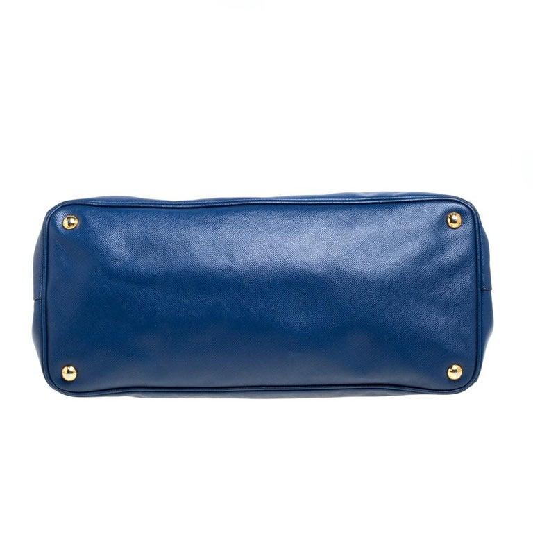 Prada Blue Saffiano Lux Leather Large Tote For Sale 1