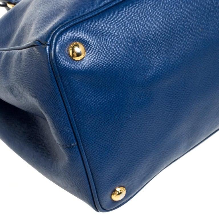 Prada Blue Saffiano Lux Leather Large Tote For Sale 5