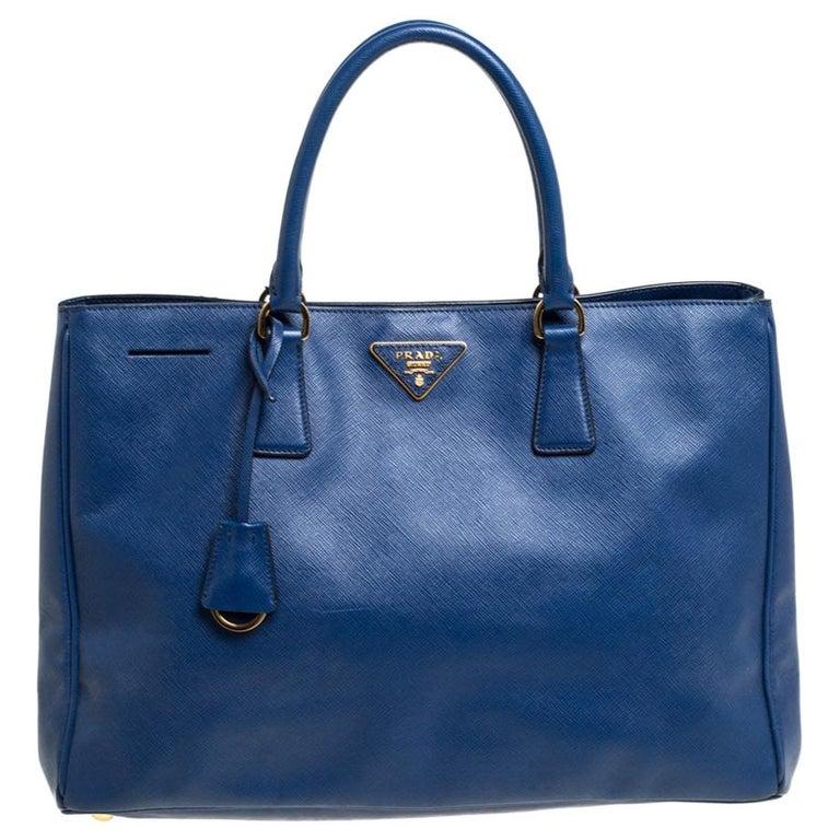 Prada Blue Saffiano Lux Leather Large Tote For Sale