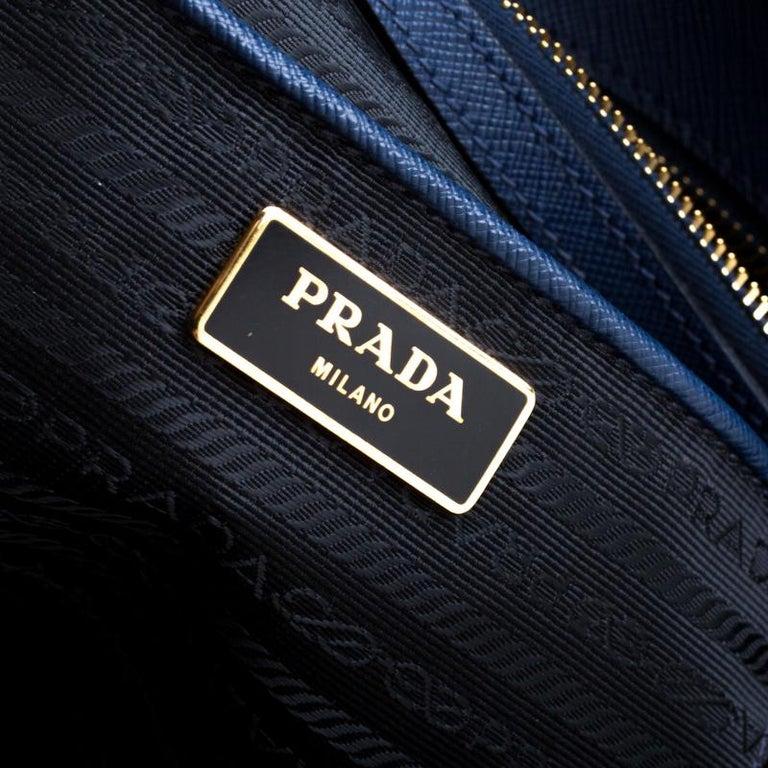 Prada Blue Saffiano Lux Leather Medium Double Zip Tote For Sale 6